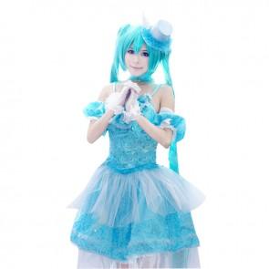 Vocaloid Miku Hatsune Cosplay Costume Blue Dress