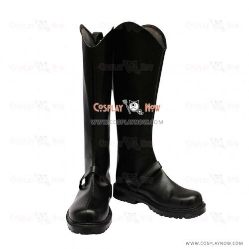 Hakuouki Sanosuke Cosplay Shoes Harada Black Leather Boots