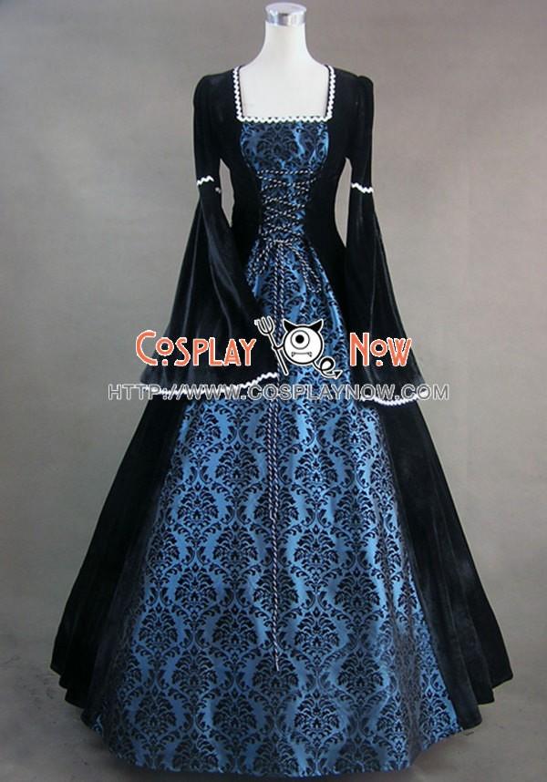 Renaissance Gothic Velvet Blue Lolita Dress Ball Gown