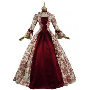 Victorian Lolita Reenactment Stage Antique Gothic Lolita Dress Red Floral