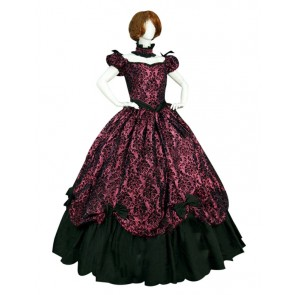 Victorian Lolita Southern Belle Brocade Gothic Lolita Dress Red Floral