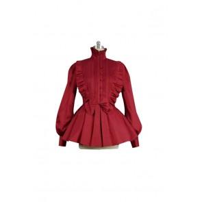 Victorian Lolita Reenactment Romantic Ruffle Gothic Lolita Dress Burgundy