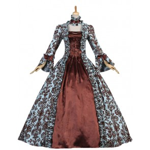 Victorian Gothic Satin Brown Formal Ball Gown Reenactment Stage Lolita Dress Costume