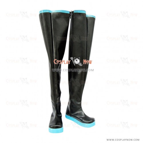 High black Vocaloid Hatsune Cosplay Shoes Miku with light blue soles Boots