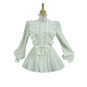 Victorian Lolita Reenactment Romantic Ruffle Blouse Gothic Lolita Dress White