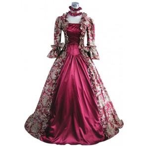 Victorian Lolita Reenactment Stage Antique Gothic Lolita Dress Wine Floral