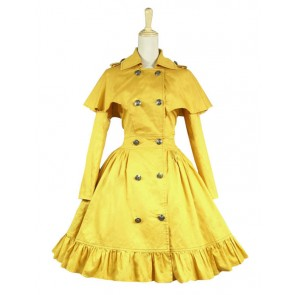 Gothic Lolita Cosplay Victorian Cape Reenactment Steampunk Stage Yellow Dress Costume