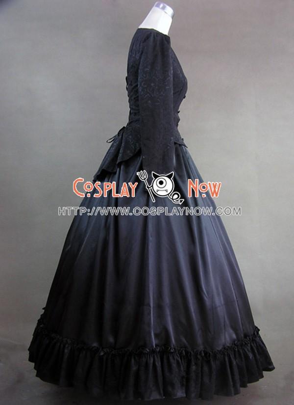 Civil War Victorian Brocaded Ball Gown Black Dress