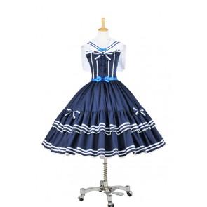 Lolita Dress Sweet Lolita Gothic Punk Jumper Skirt Navy Blue Sailor Cosplay Costume
