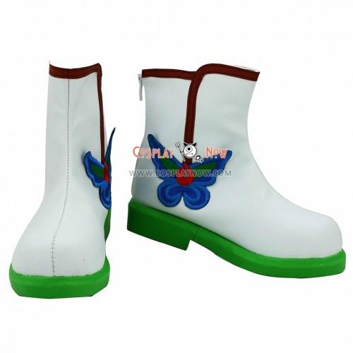 White & Green Hoozuki no Reitetsu Hakutaku Embroidery Cosplay Boots