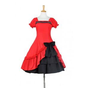 Lolita Dress Classical Lace Victorian Lolita Red Black Dress Cosplay Costume