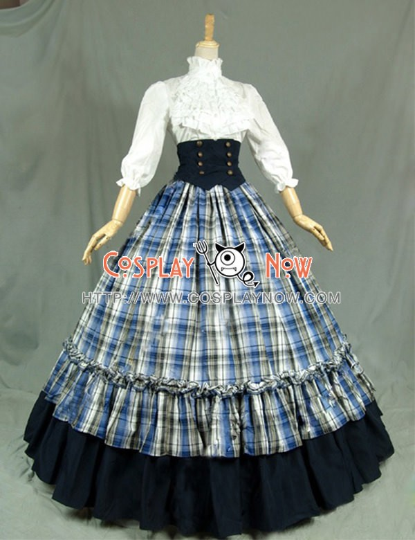 Victorian Gothic Ball Gown Reenactment Stage Punk Blue Tartan Lolita ...