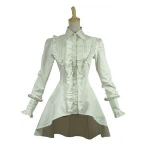 Gothic Lolita Cosplay Victorian Romantic White Blouse Ruffle Steampunk Costume