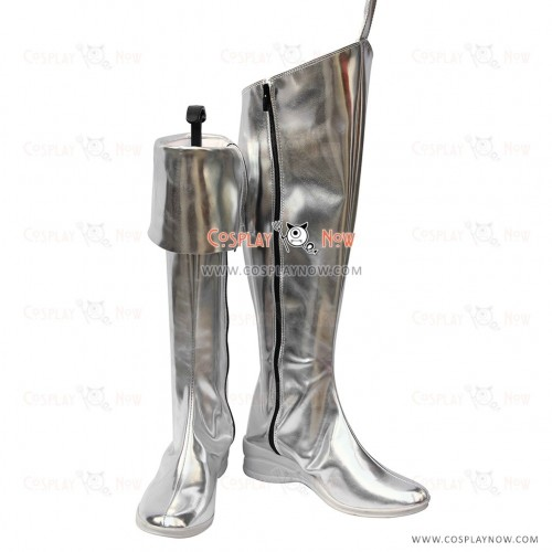 Type H Hagane Vocaloid Cosplay Shoes Hagane Miku Silver Boots