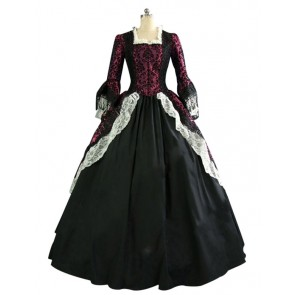 Marie Antoinette Victorian Dark Red Wedding Dress Ball Gown Prom
