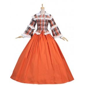 Civil War Tartan Gown Reenactment Theater Clothing Lolita Dress Costume