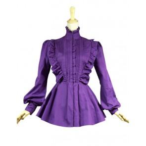 Gothic Lolita Cosplay Victorian Romantic Purple Blouse Ruffle Reenactment Costume