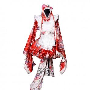 Print Maid Dress Cosplay Costume Kimono Style