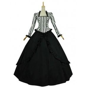 Civil War Victorian Black White Stripes Reenactment Stage Lolita Dress Costume