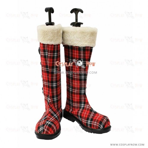 Black Butler Cosplay Shoes Ciel's Kawaii Gird Pattern Snow Boots