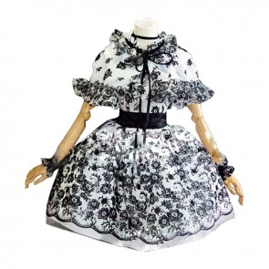 Black White Classic Gothic Lolita Dress Cosplay Costume