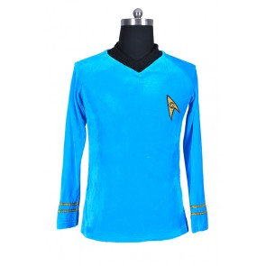 Star Trek TOS The Original Series Spock Blue Velour Shirt Uniform Costume
