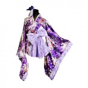 Lolita Cosplay Universal Purple Japan Kimono Dress Costume