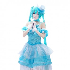 Vocaloid Miku Hatsune Cosplay Costume Blue Dress