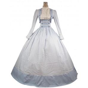 Victorian Civil War Stripes Ball Gown Reenactment Stage Blue Lolita Dress Costume