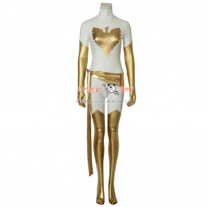 X-Men Cosplay Costume White Phoenix Costume Slim fit Gold and White Jumpsuit