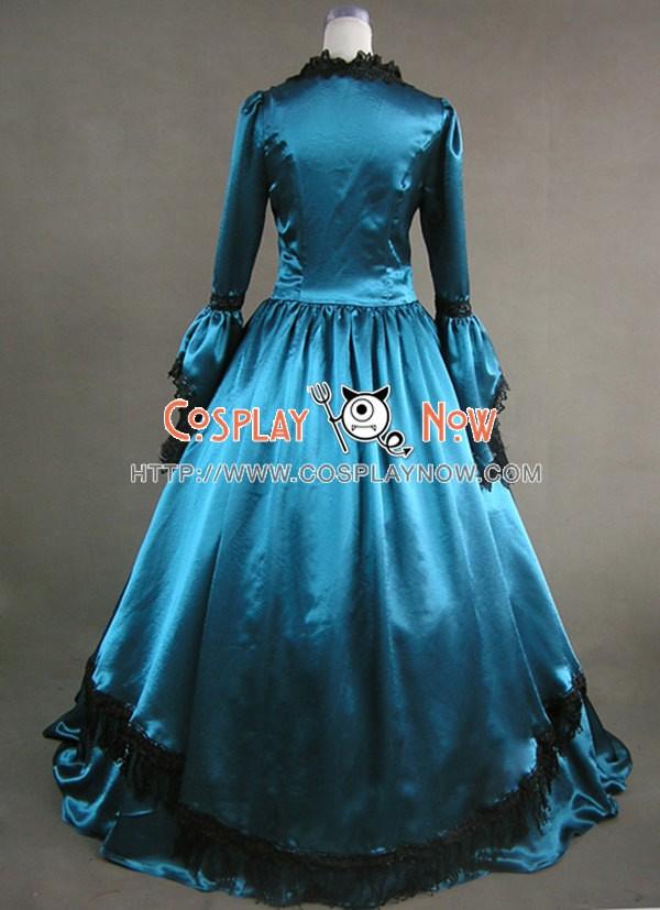 Marie Antoinette Victorian Cyan Blue Satin Wedding Dress Ball