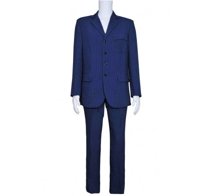 Doctor Who Blue Strip Suit Cosplay Costume