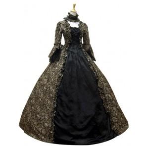 Victorian Lolita Reenactment Stage Antique Gothic Lolita Dress Black Floral