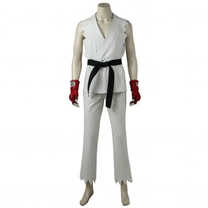 White outfit Street Fighter Ryu Cosplay Costume for man
