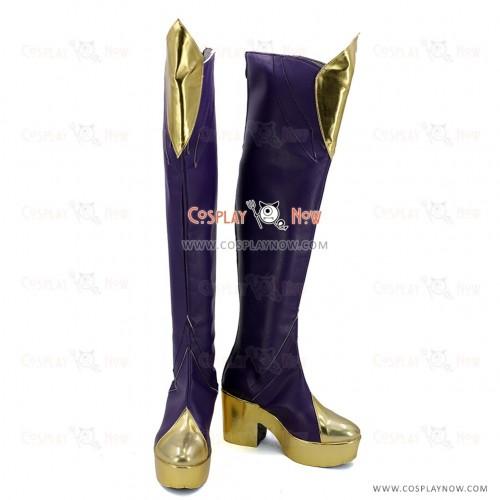 League of Legends LOL Cosplay Shoes Elementalist Lux Fire Concept Purple Boots