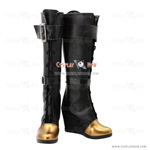 League Of Legends LOL Officer Cosplay Shoes Caitlyn Black Boots
