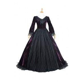 Lolita Dress Victorian Lolita Reenactment Period Velvet Lace Cosplay Costume