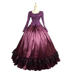 Civil War Victorian Corduroy Gown Reenactment Stage Purple Lolita Dress Costume