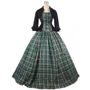 Civil War Victorian Tartan Ball Gown Day Dress Prom Cosplay