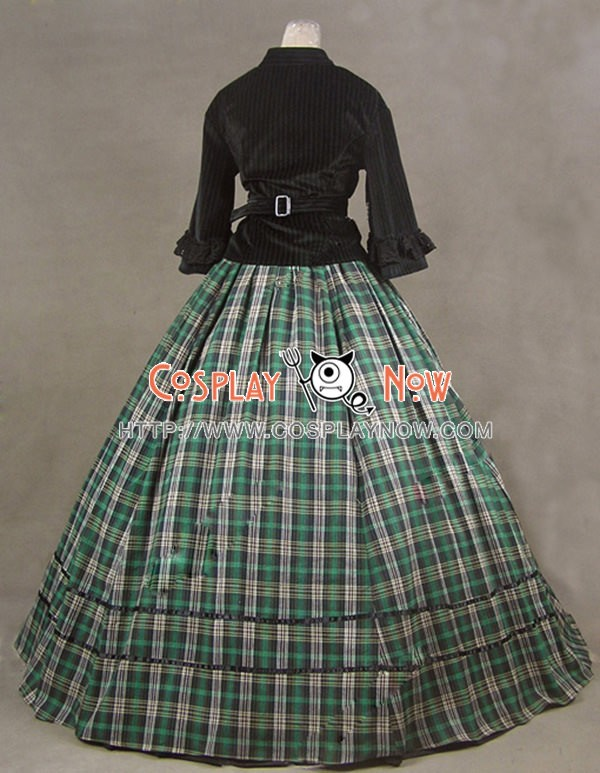 Civil War Victorian Tartan Ball Gown Day Dress Prom Cosplay