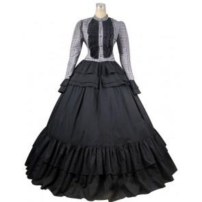 Victorian Civil War Ball Gown Tartan Dress Prom
