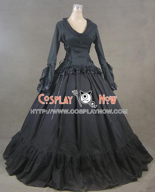 Victorian Gothic Lolita Ball Gown Prom Brocade Black Dress