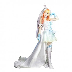 Macross Frontier Cosplay Sheryl Nome Costume Wedding Dress