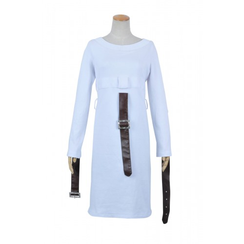 Alice Madness Returns Cosplay Alice White Dress Leather Belts Costume