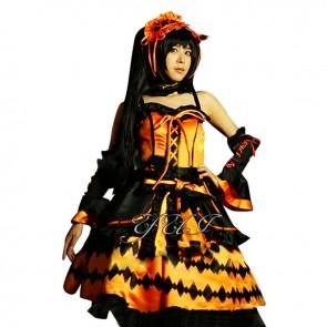 Date A Live Kurumi Tokisaki Cosplay Costume Black Orange Dress