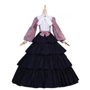 Patriotic Civil War Striped Puff Sleeved Tiered Party Gown Period Lolita Dress Costume