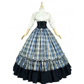 Victorian Gothic Ball Gown Reenactment Stage Punk Blue Tartan Lolita Dress Costume