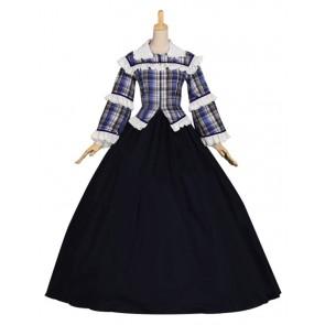 Civil War Victorian Tartan Ball Gown Reenactment Theater Clothes Lolita Dress Costume