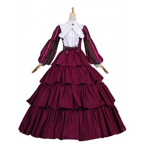 Civil War Victorian Striped Puff Sleeved Tiered Party Gown Period Lolita Dress Costume