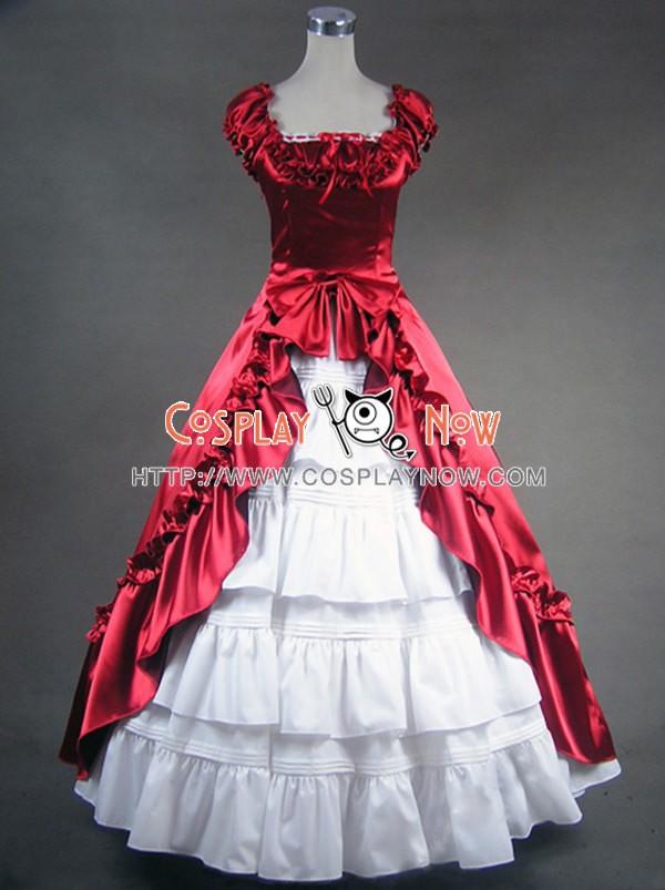 Renaissance Gothic Reenactment Red Dress Ball Gown